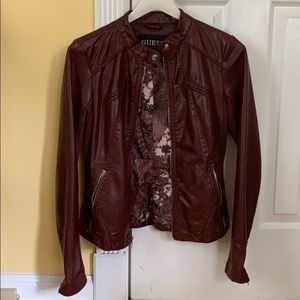 Faux burgundy leather jacket